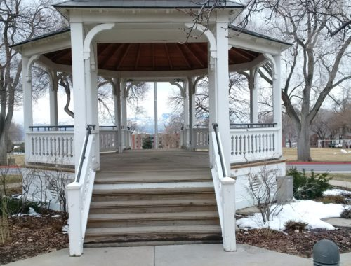 A close up photo of the Fort Douglas Bandstand.